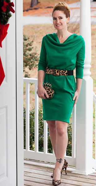 green wool jersey cocktail dress