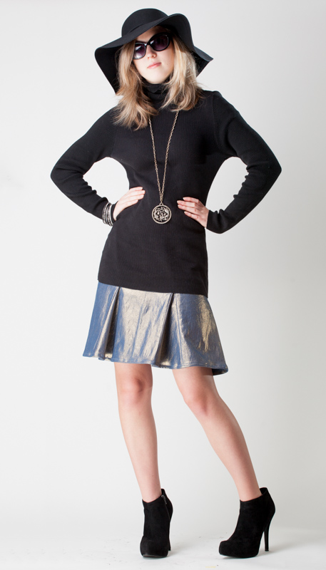 metallic denim godet skirt