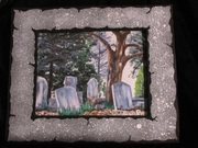 .Decatur Cemetery Study Print w/ Handpainted Mat