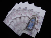 Oakland Cemetery Stained Glass Painting 6 pc Blank Note Card Set with Envelopes