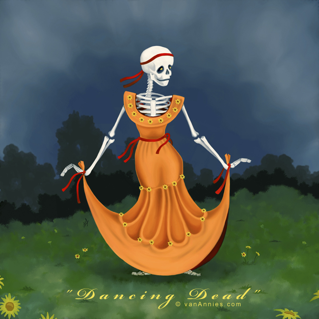 Day of the Dead Skeleton in an Orange Dress