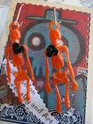 Orange Vintage Skeleton Earrings