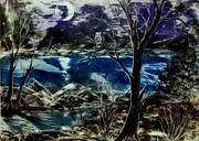 """Night, moon, tree, eagle owl."" A3"