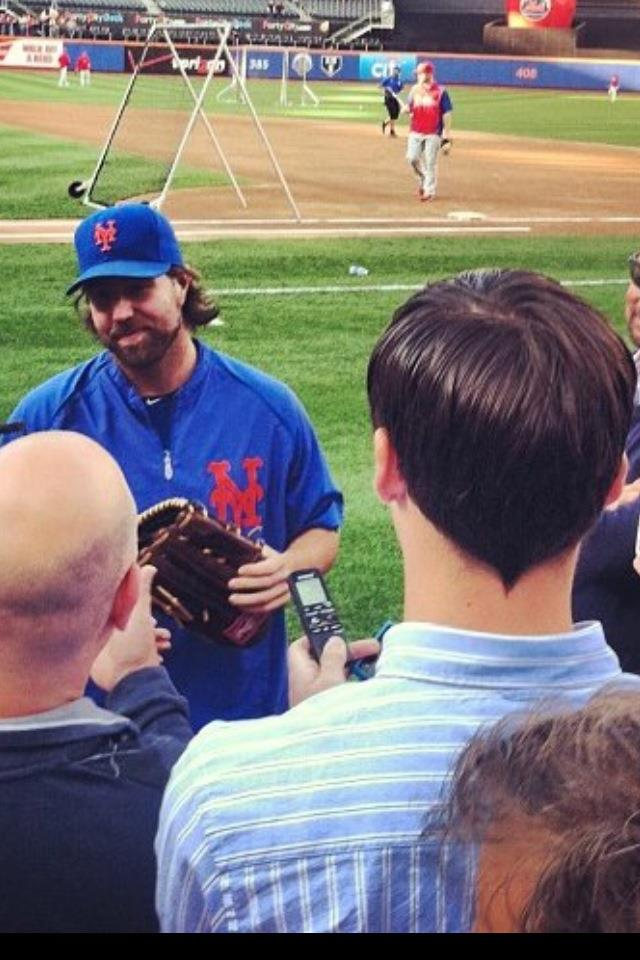 With Mets Player R.A. Dickey