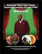Derrick Ellis' Comedy cds and dvds promotion