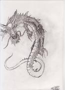 Kinesisk drake ritad med blyerts