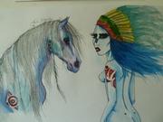 Indianfllicka med häst