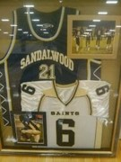 My son's football and Basketball jersey retired 2009