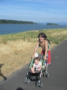 ian and emma and the columbia river in august