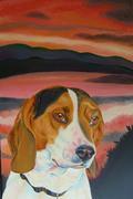 Beagle at sunset