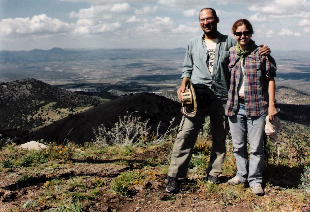 Con Coral Montero de recorrido en Chalchihuites