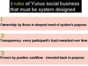 123 rules of micro social business systems by dr yunus