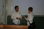 Dr Schonwetter in discussion after his presentation