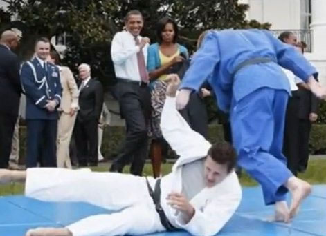 Barack Obama and First Lady watch Judo Demonstration