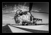 Mi-24 Hind low profile black and white