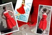 Red polka-dot dress collage