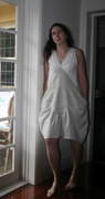 Summer dress in broderie anglaise and linen