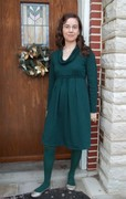 Green Knit Cowl Neck Dress