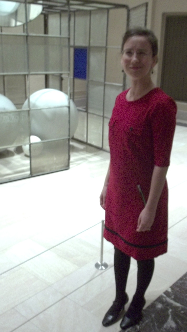 'Modern Art' Red Knit Dress