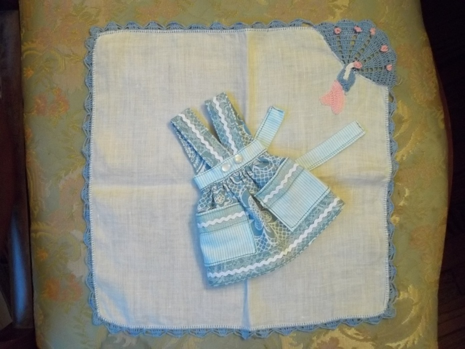 Blue Lace and Stripes Mini Apron