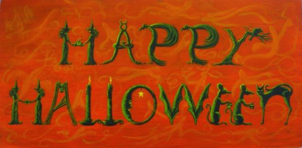 Happy Halloween  figural sign