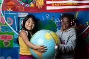 girls with globe photo