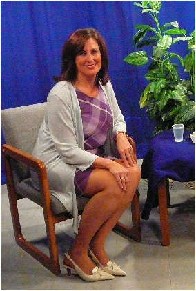 "Joyce E. Philbin-Collier, Cohost of Cable call in talk show, ""Women of Spirit"" on the set"
