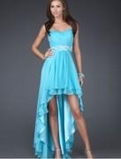 balklänningar chiffong älskling strapless halsen A-line balklänning med skiktade draperad high-low kjol