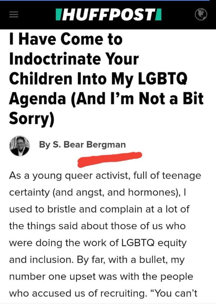 I Have Come To Indoctrinate Your Children Into My LGBT Agenda