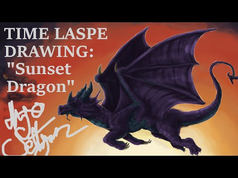 Sunset Dragon [TIME LAPSE DRAWING]