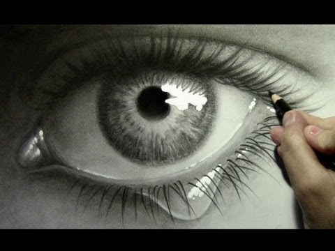 Realistic Eye with Teardrop: Drawing Time Lapse