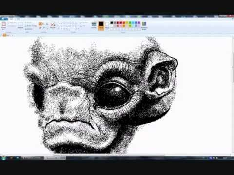 Painting a Alien in MS Paint