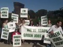 Signs of Cheers for Green Jobs Now! San Francisco