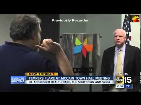 "McCain Slammed At Town Hall: ""Why Is My Money Funding Al Qaeda In Syria?"""