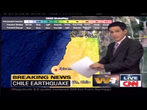 Breaking News. 2010 Earthquake (Magnitude 8.8) and Tsunami hit Chile affecting the capital Santiago