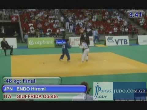 World Judo Championships Cadets U17 Final -48kg Endo (JPN)-Giuffrida (ITA) Budapest Hungary 2009