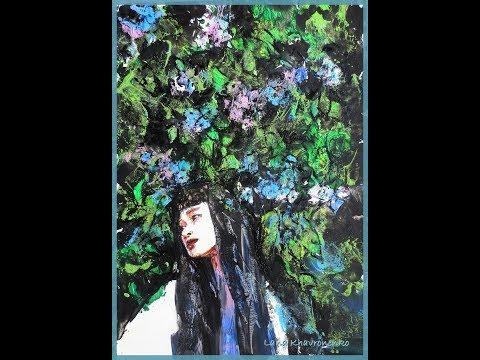 "Картина ""Зеленый сад"". Энкаустика (encaustic). Процесс"