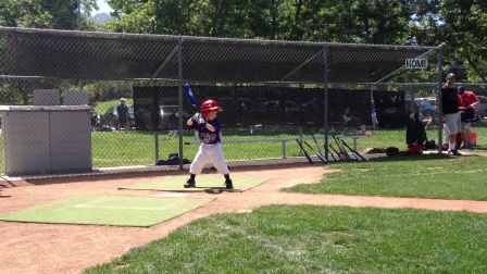 Six year olds TRUMBO impression at the plate