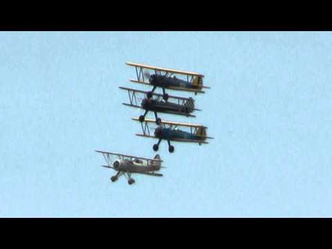 Stearmans and a Waco flying formation  at the flying Circus 5/1/11