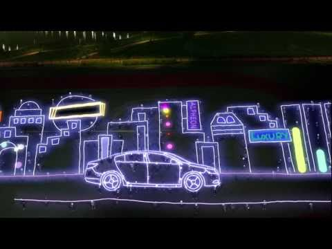 Huge light drawing stopmotion - A great number of people