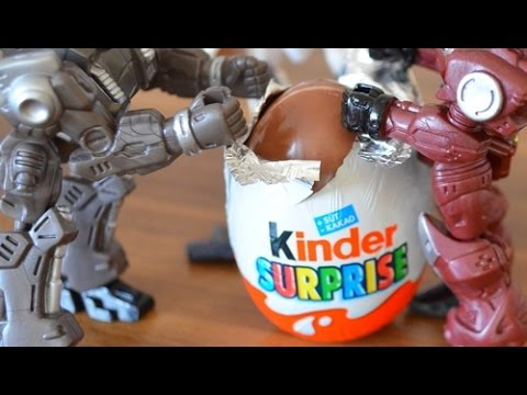 Kinder Surprise Eggs Unboxing Toys Stop Motion Animation - Robot Movie