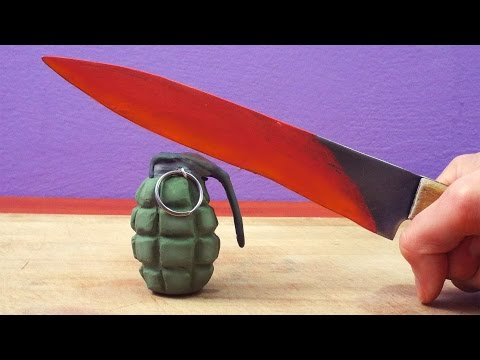 EXPERIMENT Glowing 1000 degree KNIFE Parody Stop Motion