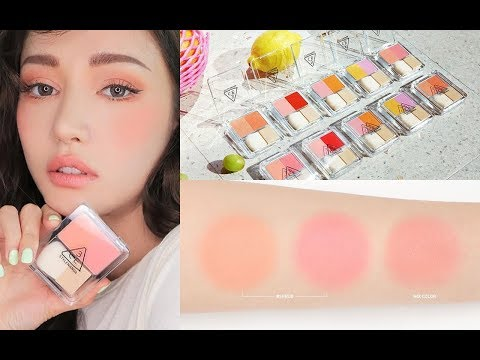 3CE Dual Blend Blusher SWATCHES & REVIEW 리뷰 코랄 메이크업 | KBEAUTY