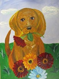 Acrylic Painting Kids Class - Puppy with Flowers