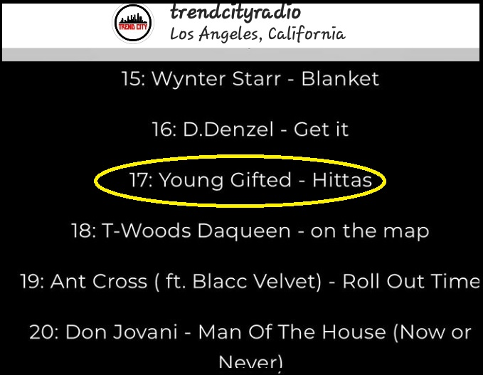THUS WEEK, YOUNG GIFTED DEBUTS AT #17 ON TREND CITY RADIO MUSIC CHARTS