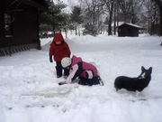 Playing at the lake on frozen ice!
