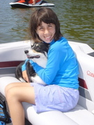Kady And Willow on the boat