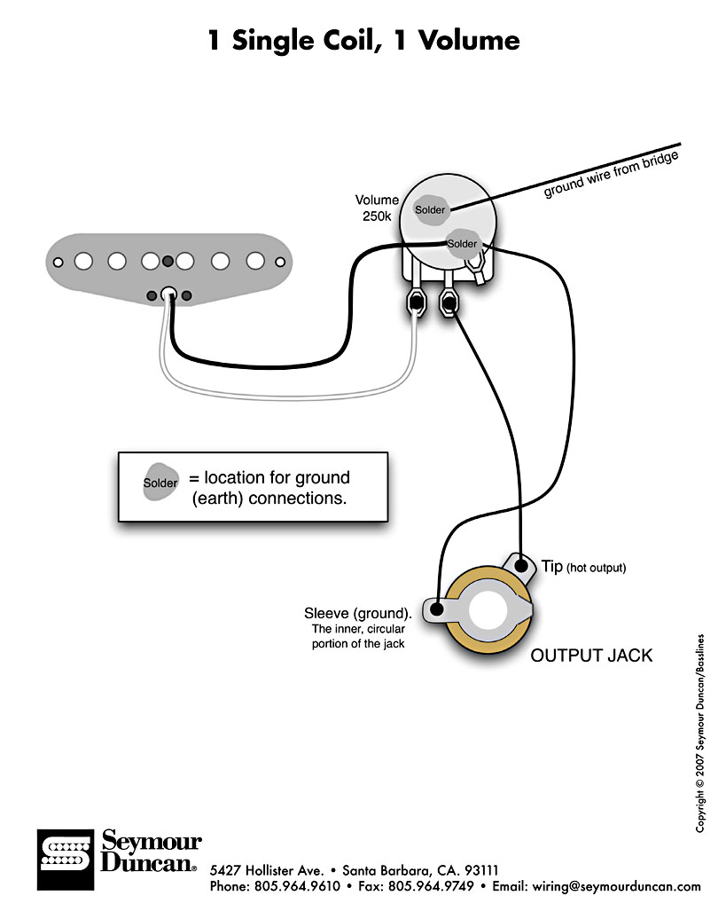 help !!!!!wiring for a single guitar pick up and volume Single Coil Pickup Wiring Diagrams