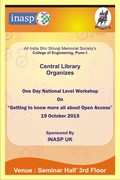 "ONE DAY Workshop On ""Getting to know more all about Open Access"" 19 October 2015"