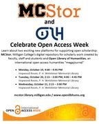 Celebrate Open Access Week with MCStor and OLH!